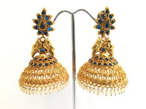 Large Peacock Detailed Temple Jhumkas