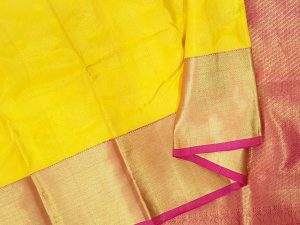 Lemon Yellow & Dark Pink Pure Kanchipuram Silk Saree