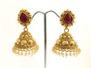 Medium Sized Antique Gold & Ruby Red Jhumkas