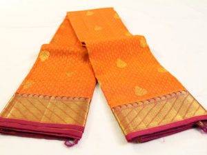 Orange Jacquard & Purplish Pink Pure Kanchipuram Silk Saree