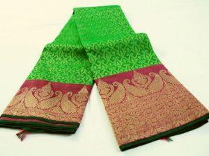 Parrot Green & Jewel Pink Handloom Pure Kanchipuram Silk Saree