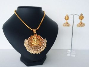 Pearl Cluster Edged Lakshmi Pendant on Ball Chain with Jimikki/Jhumkas