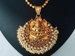 Pearl Cluster Edged Lakshmi Pendant on Ball Chain with Jimikki/Jhumkas