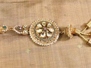 Polki, Rhodolite & Kundan Large Antique Saree Clip