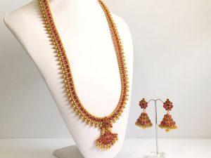 Regal Haaram with Dark Pink Stones & Matching Jhumkas