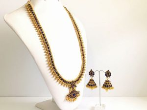 Regal Haaram with Sapphire Stones & Matching Jhumkas