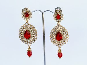Ruby Red AD Chandelier Earrings