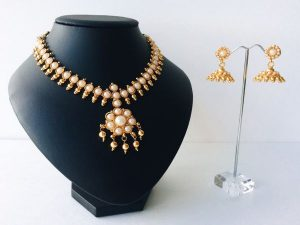 Traditional Kemp Attigai & Jhumkas