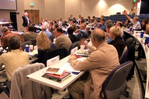 Judge Jess Clanton facilitates a large class discussion at The National Judicial College