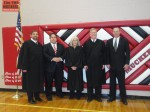 Chief Justice Michael Cherry, Attorney Christopher Arabia, Justice Kristina Pickering, Justice Mark Gibbons, and Attorney John Friel