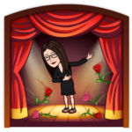 Cartoon woman on theater stage