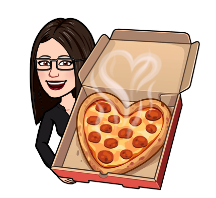 Cartoon woman with pizza