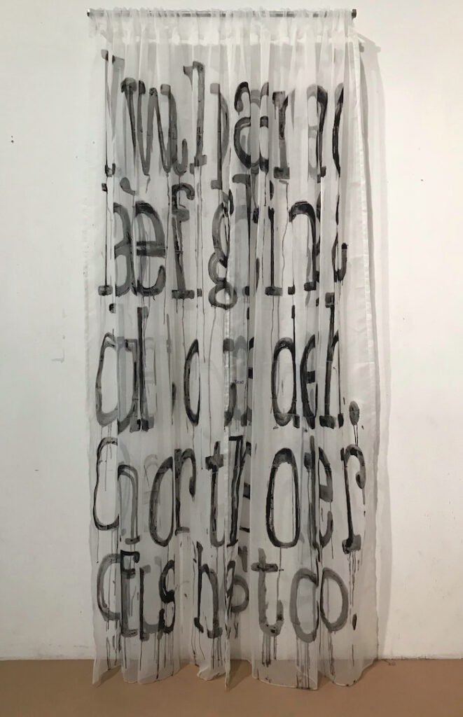 Steve Hurd, When You Know It's Curtains, 2017, gesso on polyester, 98 x 44 in