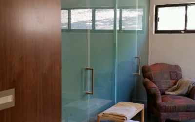 Scottsdale satin Etch Shower and Barn Door Combination