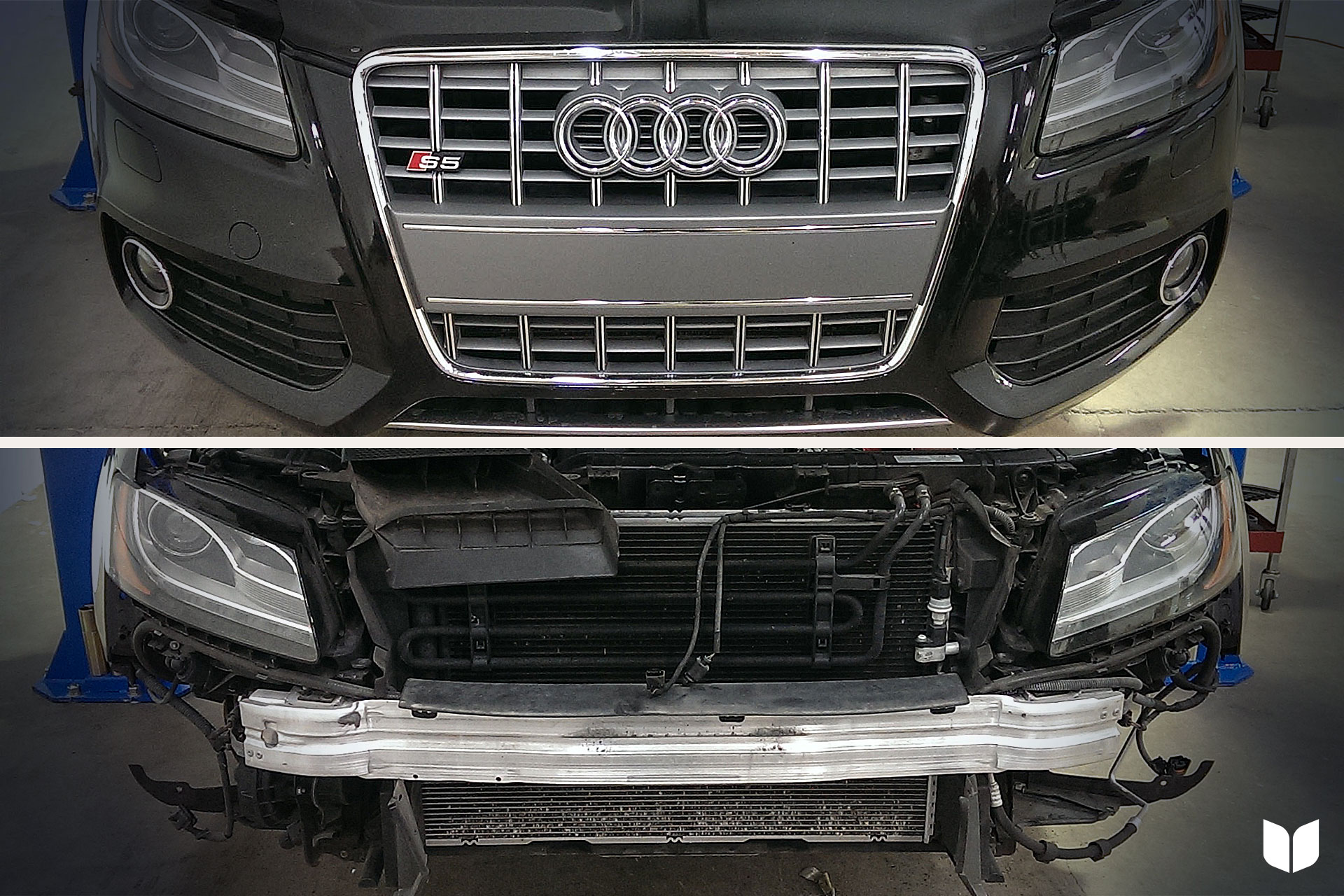 S5 Stock Grille & Unpainted Bumper Support
