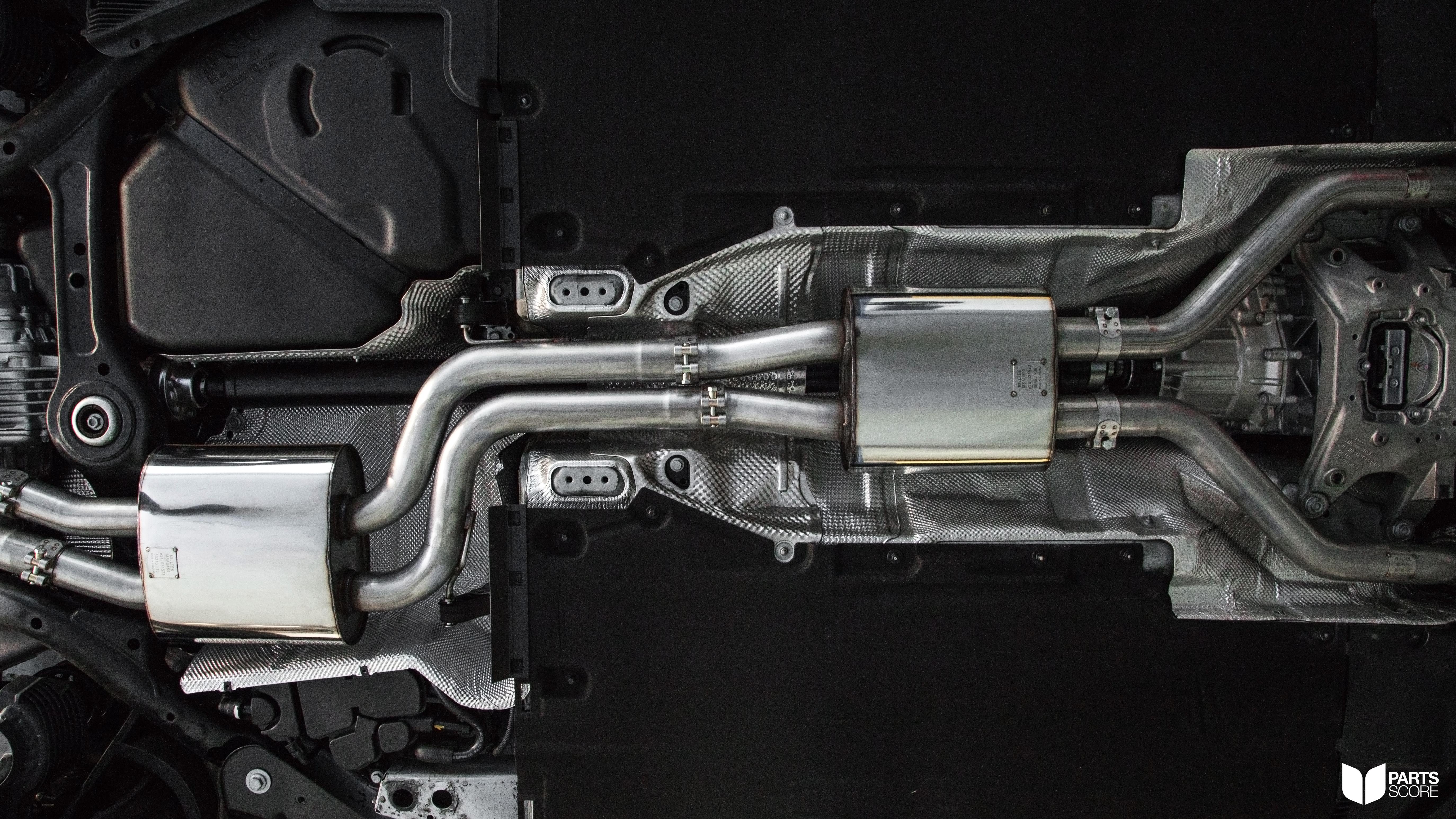 Audi S5 Cabriolet Milltek Underbody view of exhaust