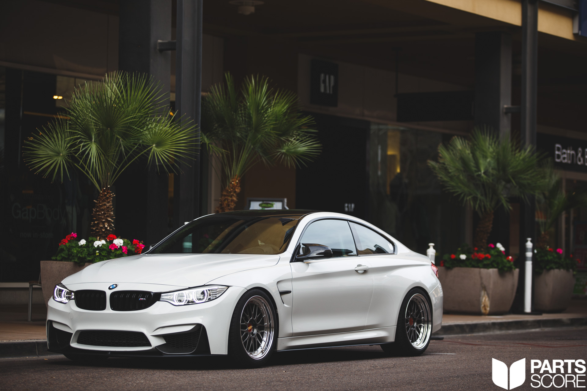 Modification List: <strong>Exterior:</strong> Euro Front Bumper, BMW M Performance Splitter and lip, BMW M Performance Side Skirts, BMW M Performance carbon fiber mirror caps, BMW M Performance rear spoiler, BMW M Performance rear diffuser,<strong>Interior:</strong> Carbon fiber BMW M inlays, BMW M Performance Alcantara &amp; Carbon Fiber Electronic Sport Steering Wheel with Shift Lights and LCD Display, Custom Alpine White paint matched seat backs, BMW M Performance Carbon Fiber e-brake lever, BMW M Performance Alcantara &amp; Carbon Fiber Arm Rest, Custom Fabricated Bolt In Roll Cage, <strong>Engine:</strong> Evolution Race Werks Downpipes, AWE Tuning Non Resonated Switch-Path Exhaust with 102mm black tips, AWE Tuning S-Flow carbon fiber intakes, Burger tuning JB4 Piggy Back, Snow Performance Water Meth, Apline White and M Tri Color Engine Cover, <strong>Suspension:</strong> KW Suspension V3 Coilovers, <strong>Wheels:</strong> 2-Piece Forged BBS LM's in 19x9.5 &amp; 19x11 Toyo R888 Tires, parts score, bmw, bmw m, bmw m4, bmw performance, bmw performance arizona, bmw performance scottsdale, bmw performance az, az bmw, az bmw group, carbon fiber, evolution race werks, snow performance, burger tuning, jb4