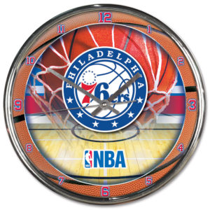 Chrome Clock - Philadelphia 76ers