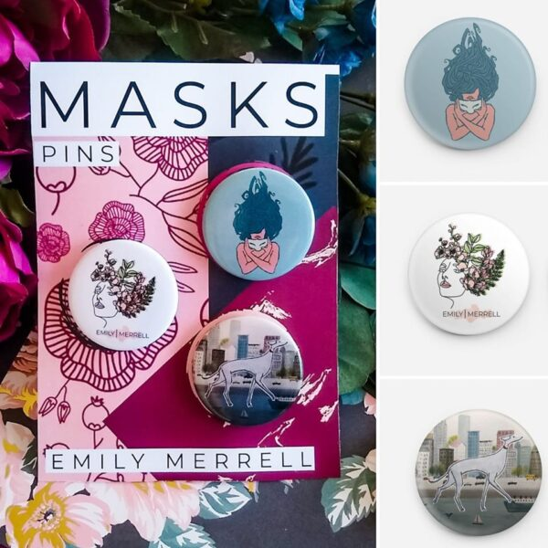 MASKS PIN-BACK BUTTONS (SALE)