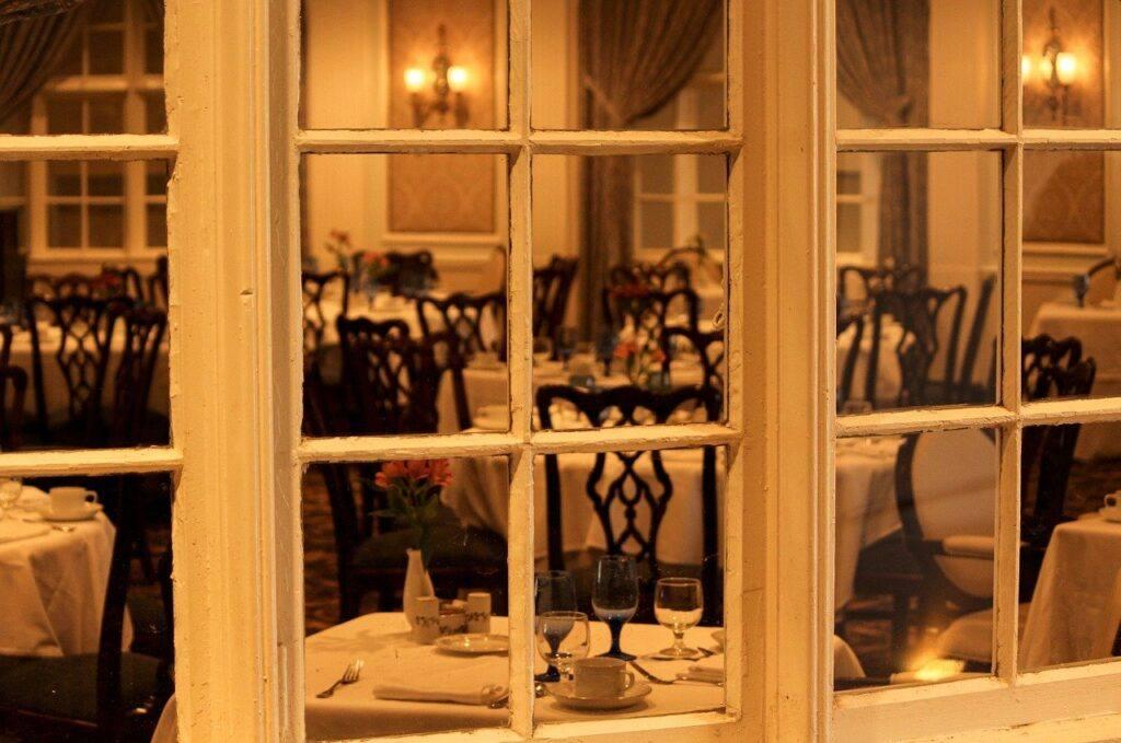 dining room, restaurant, window