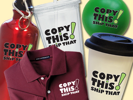 Collage of company branded merchandise