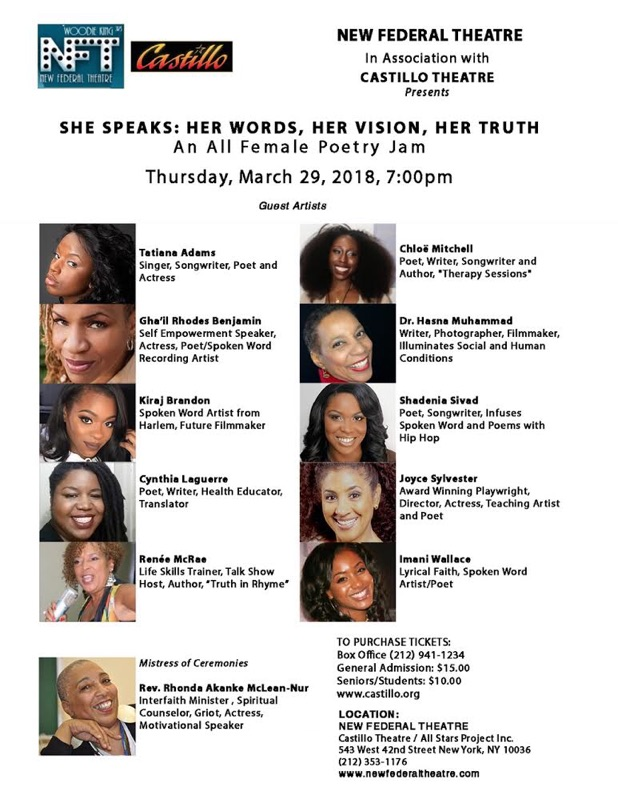 She Speaks: Her Words, Her Vision, Her Truth - An All Female Poetry Jam