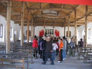 Yanan Shaanxi maoist city Meeting hall (with tourists)