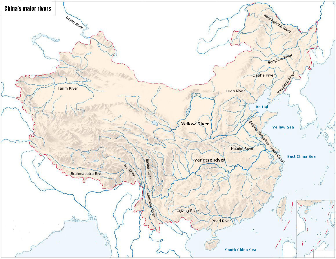Map of China's Major Rivers