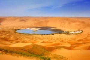 Lake in Gansu desert