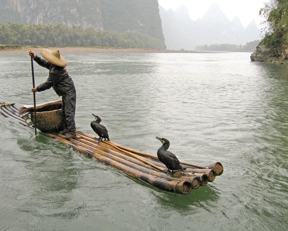 fisherman, yangtze river, yunnan