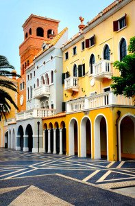 shutterstock_104746802 Macau, A Photograph of Portuguese Buildings. Bright and contrasting colors