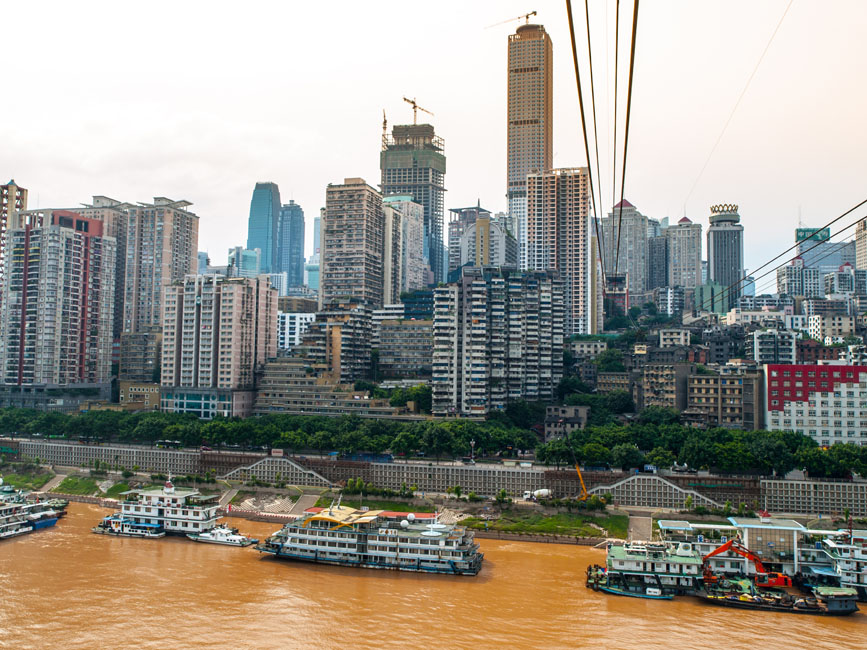 shutterstock_147075773 1850 Prints, View from cableway over Yangtze river in Chongqing city