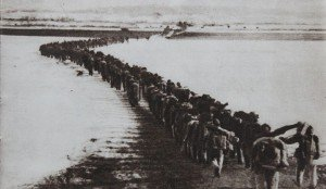 Chinese troops crossing the Amnok or Yalu River