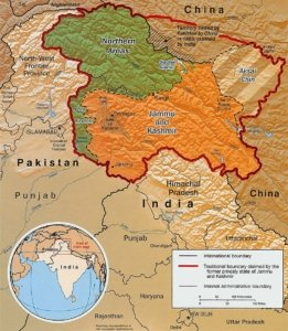 Division of Kashmir into Areas of Control: Pakistan-Green; India-Orange; China-Gold