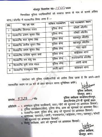भोजपुर में 29 पुलिस कर्मियों का तबादला
