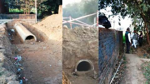 Jagdishpur Jungle Mahal - Large pipe installed in residential raiyati land