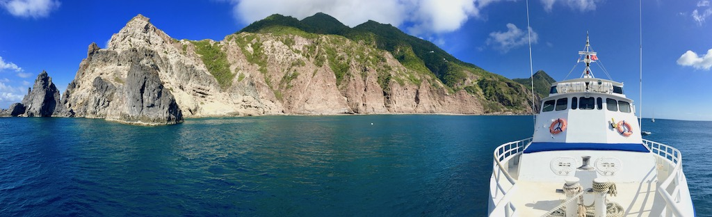 Panoramic of the Island of Saba, on liveaboard Caribbean Explorer II.