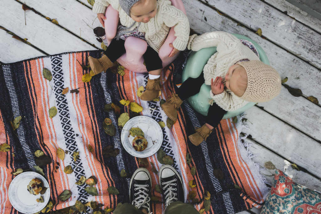 I created this blueberry muffin & apple cider picnic for my girls using things I found around the house.