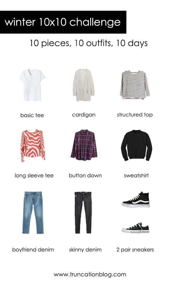 My winter 10x10 challenge clothing picks