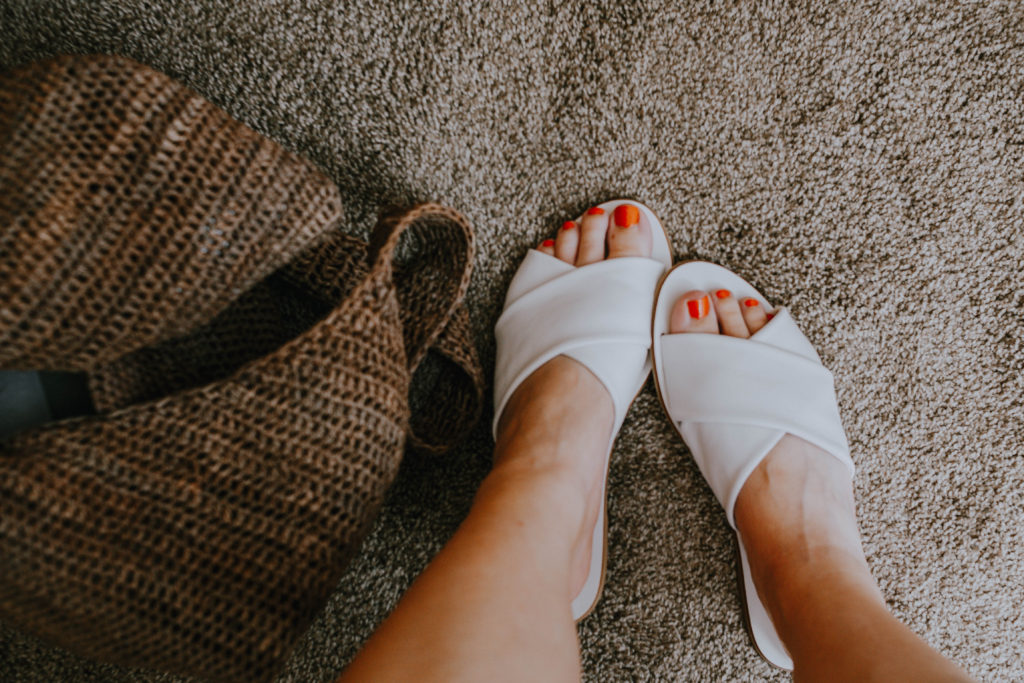 Everlane Sandal Comparison: white crossover sandal