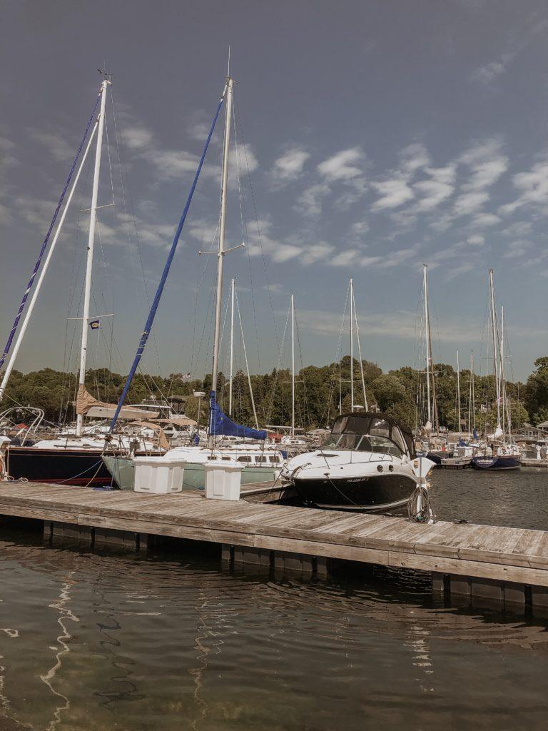 sailboats at a marina in door county, egg harbor, boats on lake michigan
