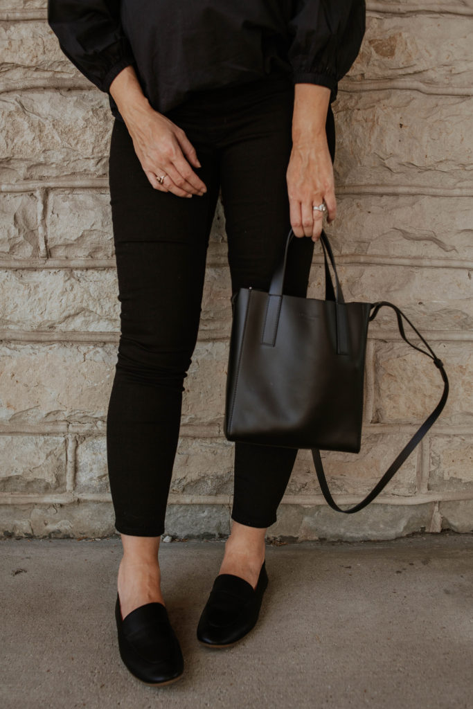 New in at Everlane, outfits that transition to fall, maternity style, black loafers, everlane review, everlane day loafer, everlane day tote mini, everlane air ruched blouse, all black summer outfit