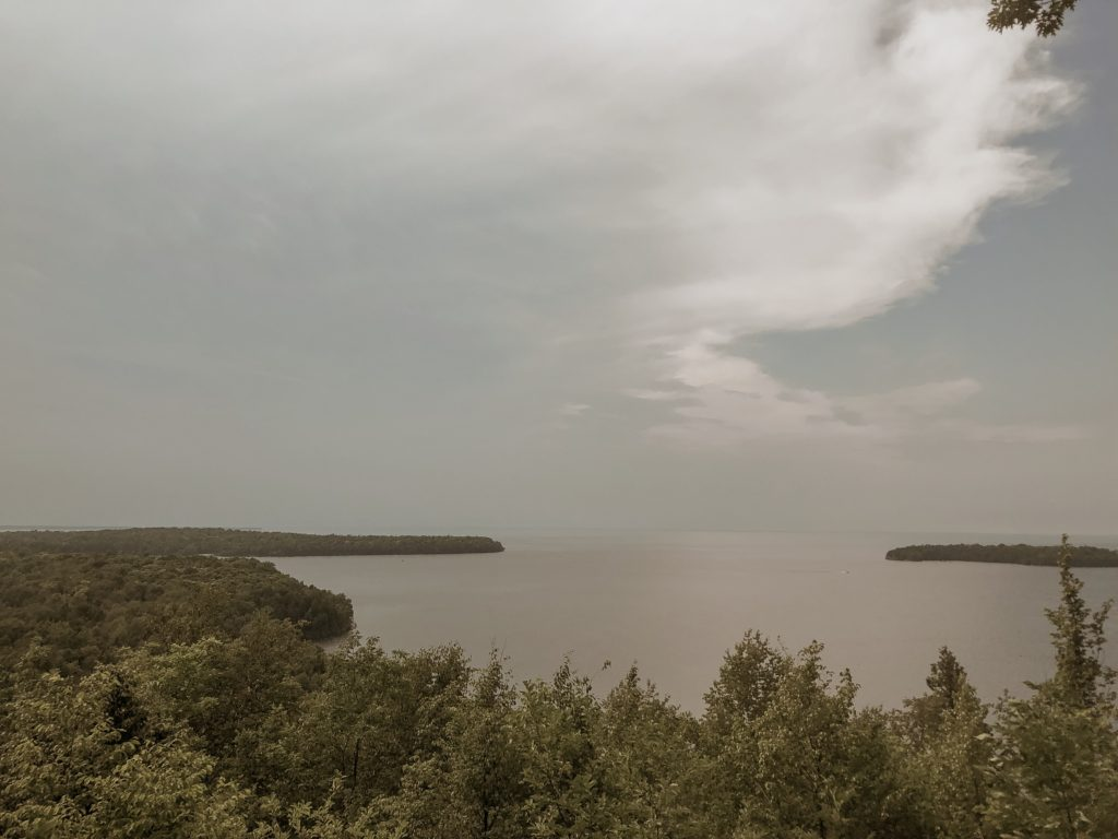 view of the harbor of lake michigan in peninsula state park in door county wisconsin