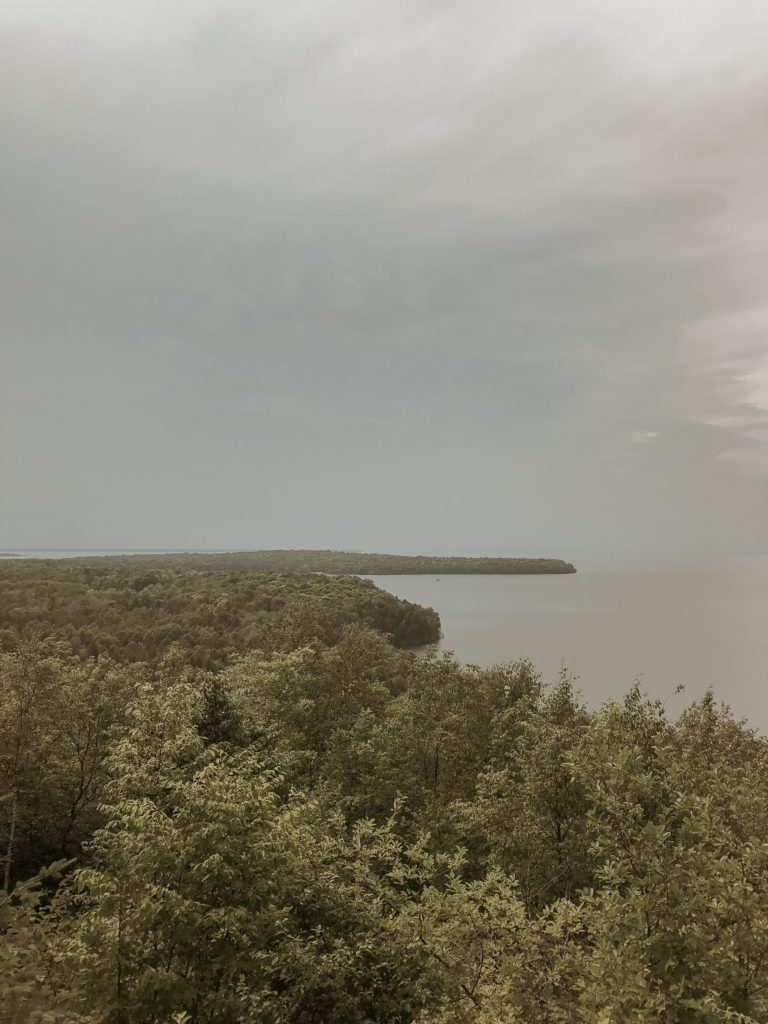 view of the harbor from a lookout in peninsula state park in door county
