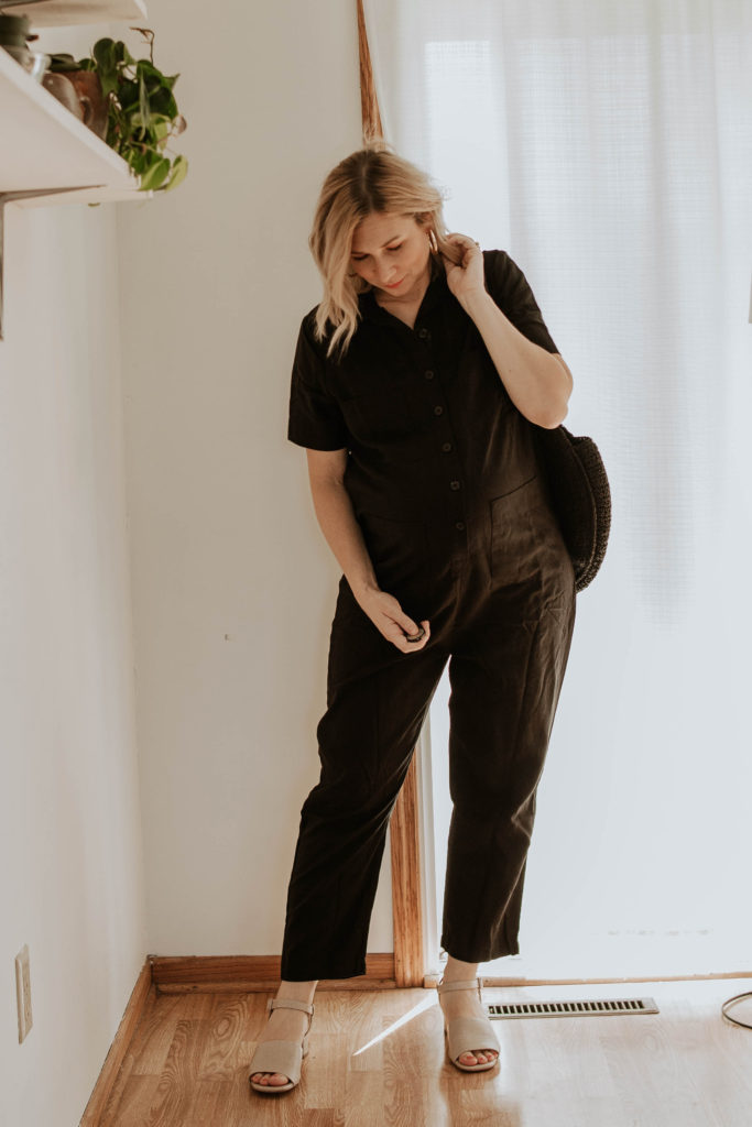 black jumpsuit, utility jumpsuit