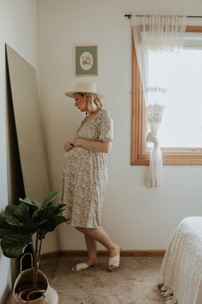 floral dress, smocked dress, straw hat, white sandals