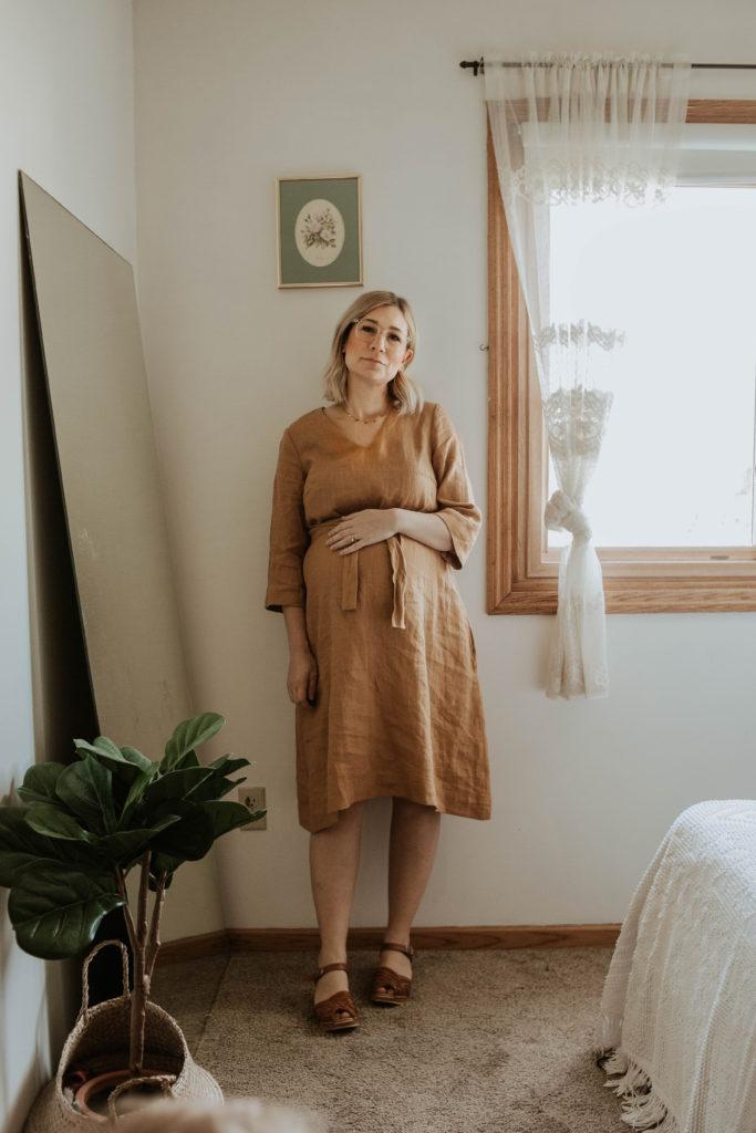 mustard linen dress, clog sandals, mustard dress
