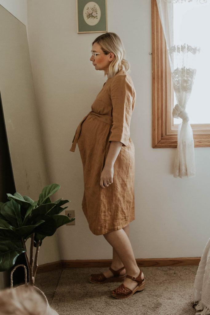 mustard linen dress, third trimester bump