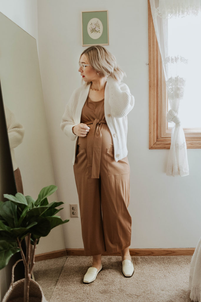 cream chunky cardigan, boxy cardigan, cropped cardigan, camel jumpsuit, cotton jumpsuit, white loafer, everlane review