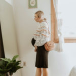 sezane sweater, storq dress, maternity dress, everlane suede day flat, friday by jwpei brown saddle bag